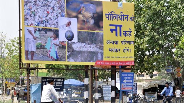 Ranchi ,Jharkhand, INDIA:(FILE PHOTO) Anti polythene campaign hoarding put by Ranchi Municipal Corporation(RMC) at Harmu colony in Ranchi - (Photo-Diwakar Prasad – Hindustan Times) PHOTO FOR REPRESENTATIONAL PURPOSE