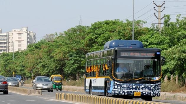 The Gurugram Metropolitan City Bus Limited (GMCBL) will launch its seventh route — from Iffco Chowk to the Integrated Metropolitan Township (IMT) in Manesar — on Thursday.(HT File Photo)