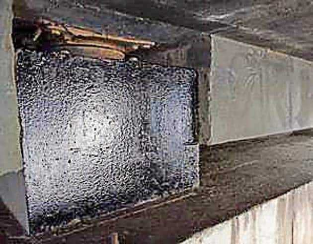 The message on the pillar of Khopta bridge in Uran was painted over by police.(Bachchan Kumar / HT Photo)