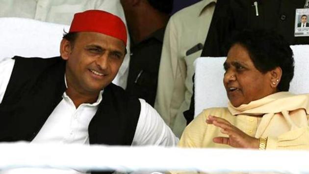 The Samajwadi Party chief, Akhilesh Yadav, with the BahujanSamaj Party supremo, Mayawati, at an election rally, Varanasi, 2019(ANI)