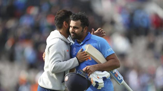 India's captain Virat Kohli, left, hugs to congratulate teammate Rohit Sharma after their win over South Africa in the Cricket World Cup match at the Hampshire Bowl in Southampton, England, Wednesday, June 5, 2019. AP/PTI(AP6_5_2019_000259B)(AP)
