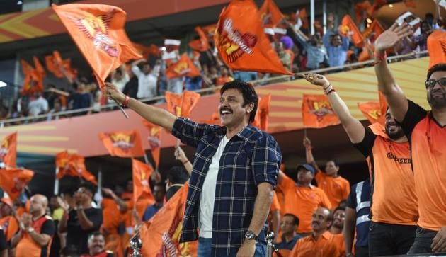 Venkatesh cheers for SRH team during the Indian Premier League 2019 (IPL T20) cricket match between Sunrisers Hyderabad (SRH) and Kings XI Punjab (KXIP) at Rajiv Gandhi International Cricket Stadium in Hyderabad.(PTI)