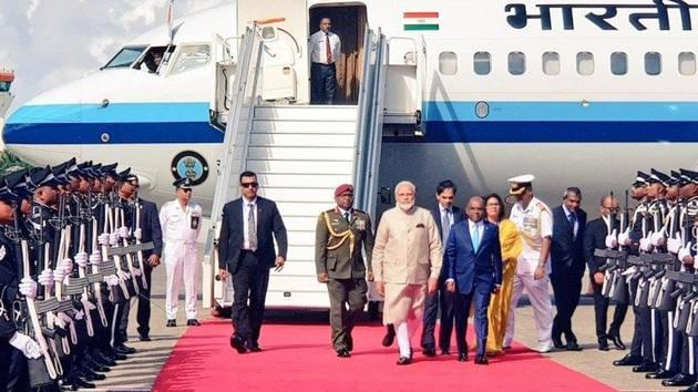 PM Modi arrives in Male, capital of Maldives, to a warm reception by Foreign Minister Abdulla Shahid. (Photo @MEA India)