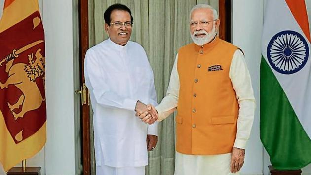 Prime Minister Narendra Modi shakes hands with Maithripala Sirisena, President of Sri Lanka, at Hyderabad House, in New Delhi, India, on Friday, May 31, 2019.(Photo by Vipin Kumar/ Hindustan Times)