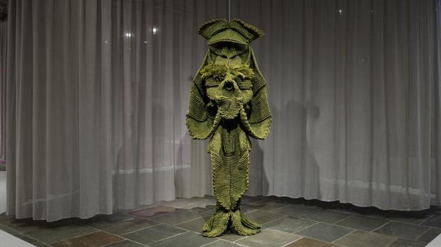 A sculpture from Mrinalini Mukherjee's exhibition(HT PHOTO)