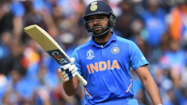 India's Rohit Sharma celebrates after scoring a half-century (50 runs) during the 2019 Cricket World Cup group stage match between India and Australia at The Oval in London on June 9, 2019(AFP)