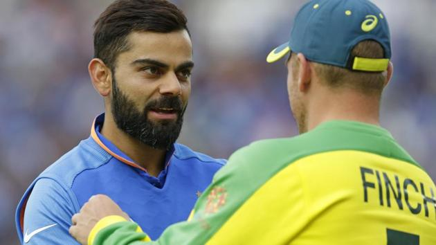 Virat Kohli of India shakes hands with Aaron Finch of Australia at the end of the Group Stage match of the ICC Cricket World Cup 2019 between India and Australia(Getty Images)