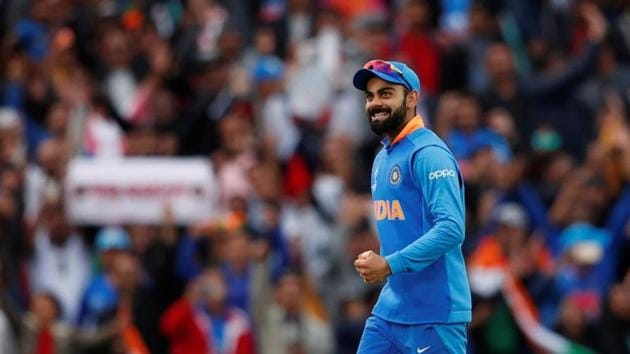 India's Virat Kohli celebrates at the end of the match. Action Images via Reuters/Andrew Boyers(Action Images via Reuters)