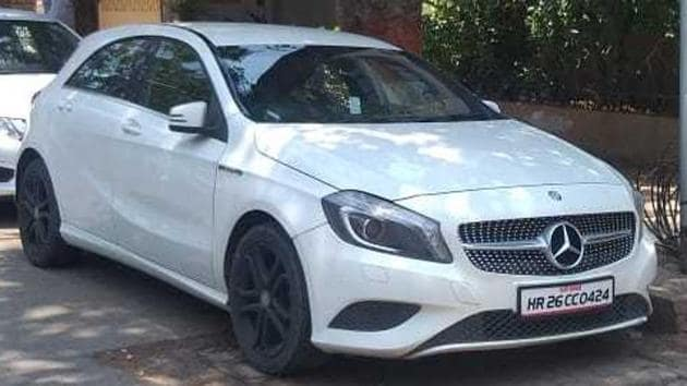 The accused's Mercedes car.(HT Photo)