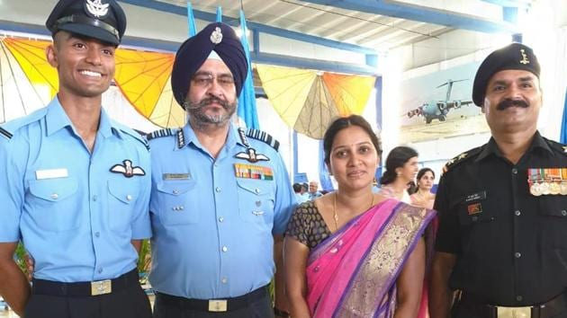 Flying Officer Reddy is a second generation soldier. His father Subedar G Pulla Reddy, is from the Signals Regiment of the Indian Army and is currently serving.(IAF)