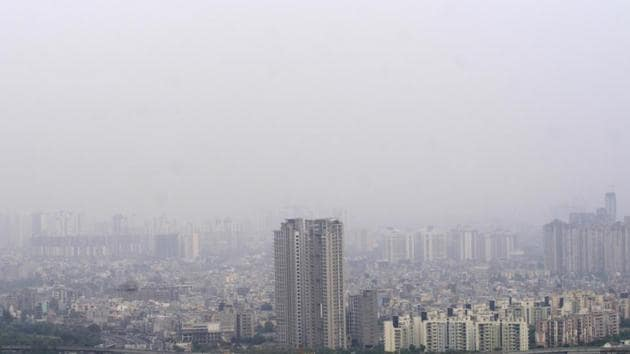 Hazy views of the city skyline due to increased air pollution, in Noida, India, on Monday, May 13, 2019.((Photo by Sunil Ghosh / Hindustan Times))