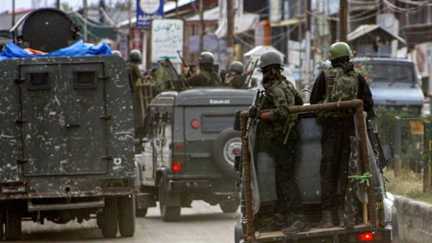 Security personnel near the site of 'Fidayeen' attack, in which five CRPF personnel and one militant were killed in Anantnag, on June 12, 2019. (PTI)