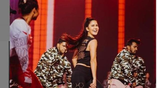 Katrina Kaif on the stage as she practices her moves for Miss India 2019 performance.(Instagram)