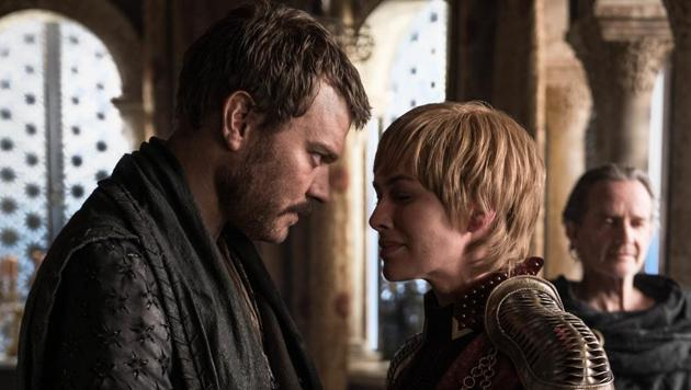 Piloe Asbaek and Lena Headey in a still from the fourth episode of the final season of Game of Thrones.