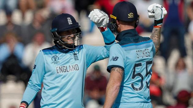 England's Joe Root (L) and England's Ben Stokes celebrate after victory.(AFP)