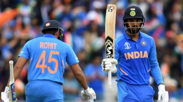 India's K.L. Rahul (R) celebrates after scoring a half-century (50 runs) with teammate Rohit Sharma during the 2019 Cricket World Cup(AFP)