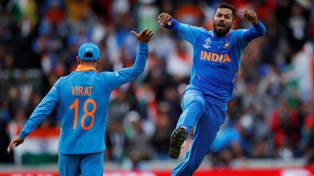 India's Hardik Pandya celebrates taking the wicket of Pakistan's Shoaib Malik.(Action Images via Reuters)