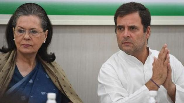 Indian National Congress Party president Rahul Gandhi (R) gestures as his mother and former Congress party senior leader Sonia Gandhi (L) looks on during a Congress Working Committee (CWC) meeting in New Delhi on May 25, 2019.(AFP file photo)