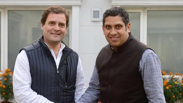 Congress president Rahul Gandhi with the party's data analytics department chief Praveen Chakravarty.(Photo: Twitter)