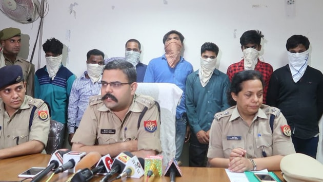 Seen here are the seven people arrested for the alleged gang rape in Noida.(Photo by @noidapolice)