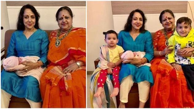 Hema Malini poses with Esha Deol's daughters Miraya and Radhya.(Instagram)