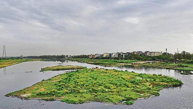 Majnu Ka Tilla, along the floodplains, as seen from the Signature bridge.(Burhaan Kinu/HT PHOTO)