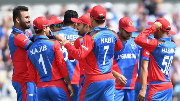 File image of players of Afghanistan cricket team in action during a match.(AFP)