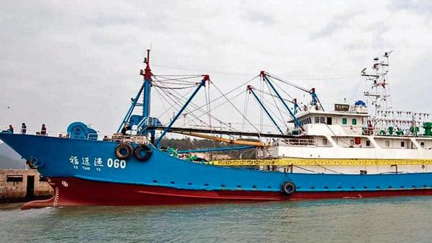 """Ten Chinese fishing vessels, which sought """"emergency shelter"""" in Ratnagiri in Maharashtra during Cyclone Vayu, are under the Centre's scanner for allegedly fishing illegally in Indian waters .(Ganesh Nakhawa)"""