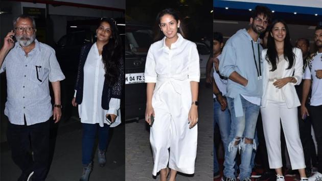 Pankaj Kapur with daughter Sanah Kapoor, Mira Rajput, Shahid Kapoor and Kiara Advani at Kabir Singh screening.(Varinder Chawla)