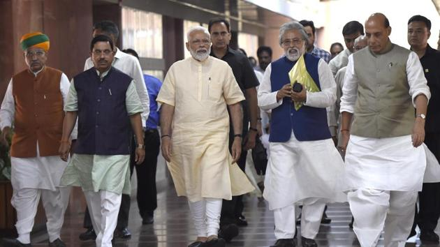 Prime Minister Narendra Modi, in one of his first political initiatives after winning a spectacular mandate, convened an all party meeting on Wednesday to deliberate on a pet theme: one nation; one poll(Arvind Yadav/HT PHOTO)
