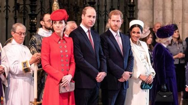 Britain's Prince Harry and Meghan, Duchess of Sussex stand with Kate, Duchess of Cambridge and Britain's Prince William at Westminster Abbey for a Commonwealth Day service in London.(Reuters file photo)