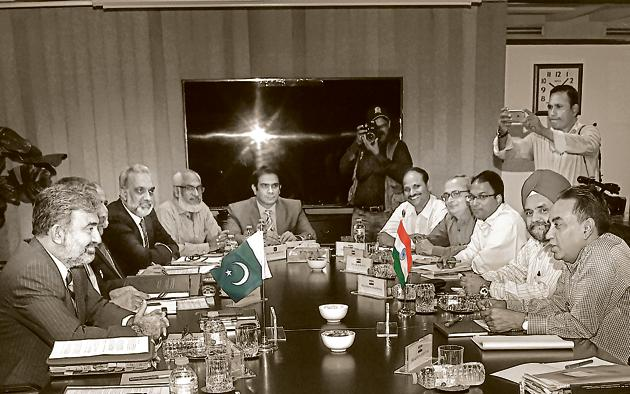 Indian and Pakistani members of the Indus Water Treat meet in Lahore, August 29, 2018. With Pakistan, there is no need for India to bend over backwards on water diplomacy(AFP)