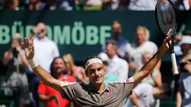 Switzerland's Roger Federer celebrates winning the final against Belgium's David Goffin.(REUTERS)