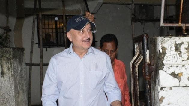 Anupam Kher seen at Juhu, in Mumbai.(IANS)