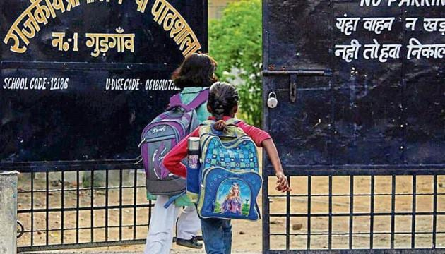 Out of the four blocks that comprise Gurugram district—Gurugram, Sohna, Pataudi, and Farrukhnagar—only Gurugram block took part in the exam, the results of which were declared last week.(HT Photo)