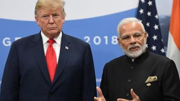 US President Donald Trump with Prime Minister Narendra Modi during a meeting in the sidelines of the G20 Leaders' Summit in Buenos Aires, on November 30, 2018.(AFP file photo)