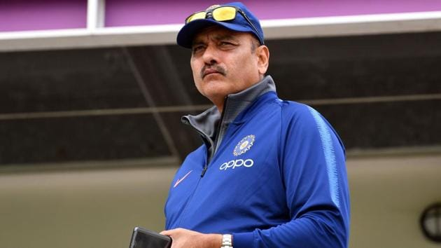 India's head coach Ravi Shastri arrives for a training session at the Hampshire Bowl in Southampton.(AFP)