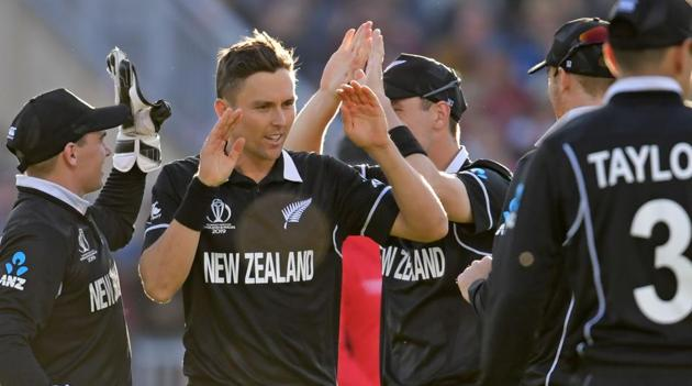 File image of players of New Zealand cricket team celebrating after the fall of a wicket.(AFP)