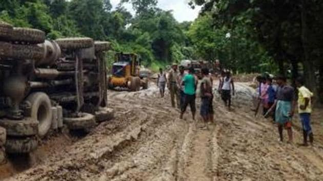 The 1 minute 27-second song 'Road Banao NHAI' by Daniel Langthasa, a Congress member of the Dima Hasao Autonomous Council in Assam, highlights the condition of the 25-km stretch on NH54 between Jatinga and Harangajao.(Representative Image/AFP File Photo)