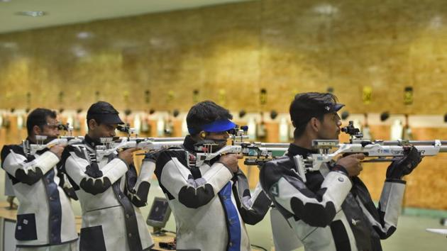 New Delhi, India - Feb. 22, 2019: Indian shooters take part in a practice session ahead of the International Shooting Sport Federation (ISSF) Rifle and Pistol World Cup at Dr. Karni Singh Shooting Range, in New Delhi, India, on Friday, February 22, 2019. (Photo by Burhaan Kinu/ Hindustan Times)(Burhaan Kinu/HT PHOTO)
