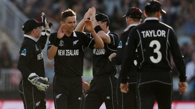 New Zealand's Trent Boult celebrates taking the wicket of West Indies' Ashley Nurse.(Action Images via Reuters)