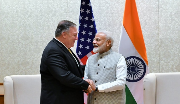 The US secretary of state will also meet national security adviser Ajit Doval in South Block with multiple issues, including terror and defence, slated to be on the table.(Twitter/ Raveesh Kumar)