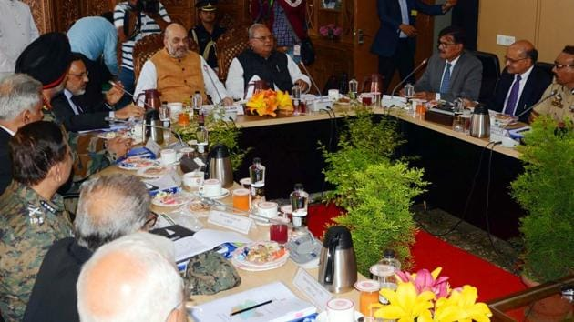 Union Home Minister Amit Shah conducted a review meeting of the security arrangements for Amarnath Yatra in Srinagar on Wednesday. He directed all security agencies to be fully alert and take all preventive steps to ensure violence free Yatra. (ANI Photo)