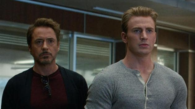 This image released by Disney shows, from left Robert Downey Jr. and Chris Evans in a scene from Avengers: Endgame.(AP)