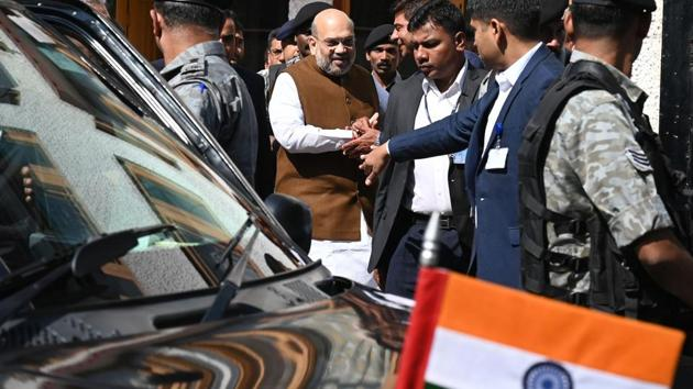 Home Minister Amit Shah leaves after visiting family members of a slain police officer Arshad Khan, who was killed during attack by militants in Anantnag in south of Srinagar, in Srinagar on June 27, 2019.(AFP)