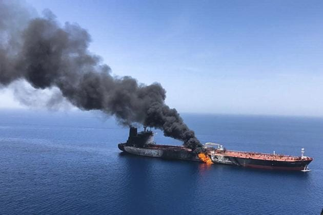 In this June 13, 2019, file photo, an oil tanker is on fire in the sea of Oman. A series of attacks on oil tankers near the Persian Gulf has ratcheted up tensions between the US and Iran -- and raised fears over the safety of one of Asia's most vital energy trade routes, where about a fifth of the world's oil passes through its narrowest at the Strait of Hormuz. The attacks have jolted the shipping industry, with many of operators in the region on high alert(AP)