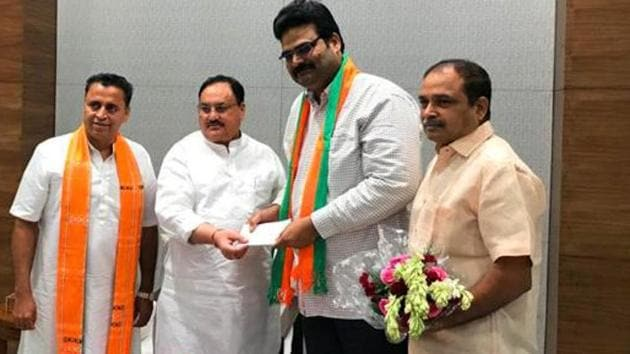 A day earlier,Telugu Desam Party spokesperson Lanka Dinakar joined the Bharatiya Janata Party in the presence of working president JP Nadda at the BJP headquarters in New Delhi.(ANI PHOTO)