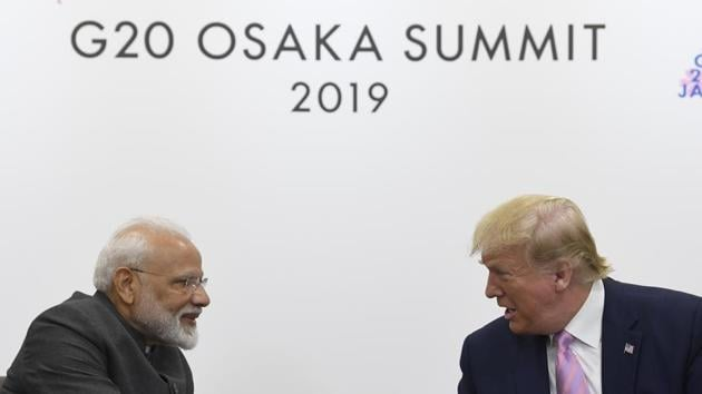 President Donald Trump shakes hands with Indian Prime Minister Narendra Modi during a meeting on the sidelines of the G-20 summit in Osaka, Japan.(AP)