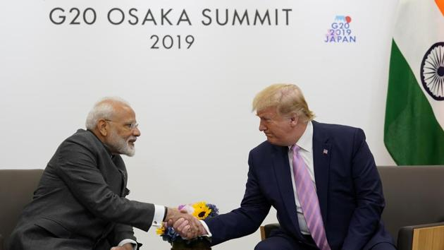 US President Donald Trump attends a bilateral meeting with India's Prime Minister Narendra Modi during the G20 leaders summit in Osaka, Japan(REUTERS)