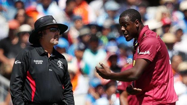 West Indies' Carlos Brathwaite remonstrates with an umpire.(Reuters)